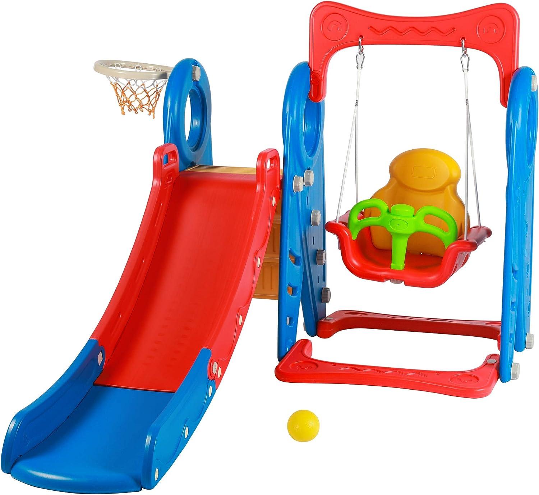 3 in 1 Toddlers Slide Swing Basketball Hoop Set for Boys Girls K