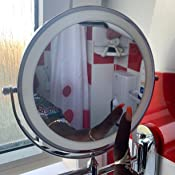 Upgrade 0.5h Auto Off LED Bathroom Mirror Idea Gift Choice 5X Magnifying LED Mirror alvorog Wall Mounted Makeup Mirror with 3 Color Modes 360/°Swivel and Extendable USB Rechargeable