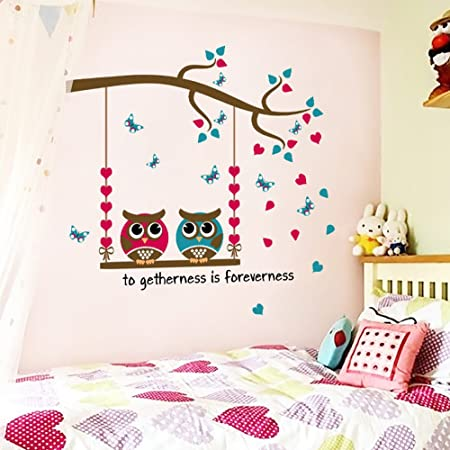 Details about  /133cm*52cm Couple Owl Photo Frame Kids Baby Room Wall Stickers Removable CA
