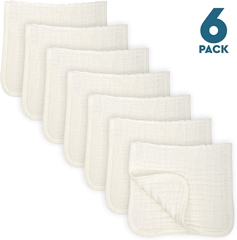 6 Pack Muslin Burp Cloths Large 20 By 10 100 Cotton Hand Wash Cloth 6 Layers Extra Absorbent And Soft