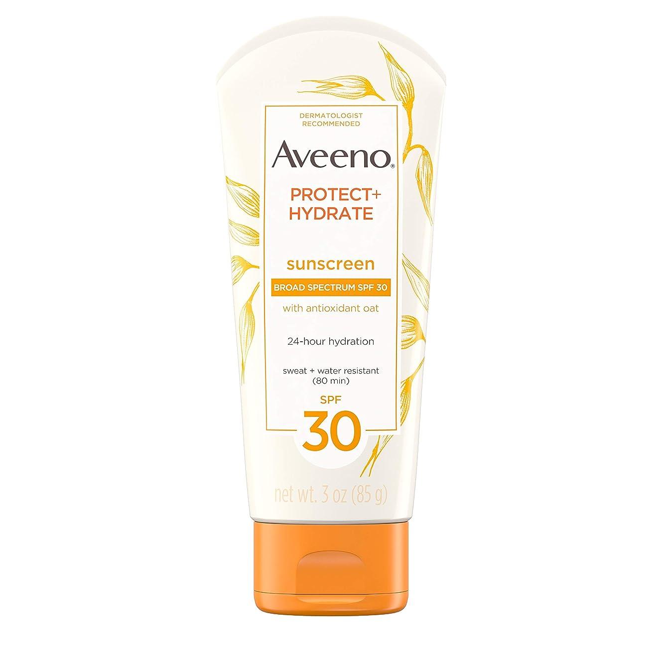 自分を引き上げるジャングルバーマドAveeno アビーノ 日焼け止め ローションSPF-30 protect+hydrate Sunscreen Lotion(平行輸入品) 85g (3Oz)