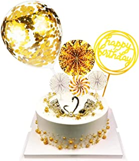 Happy Birthday Cake Topper Set Paper Fans Confetti Balloon Acrylic Cupcake Topper for Birthday Cake Decoration (Golden)