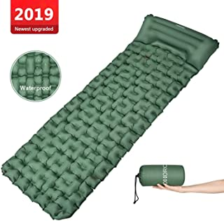 OMORC Camping Sleeping Pad -Mat (Large), Lightweight and Compact,Camp Sleep Pad, Perfect Sleeping Pads for Backpacking, Traveling and Hiking Air Mattress,with Adjustable Built-in Pillow