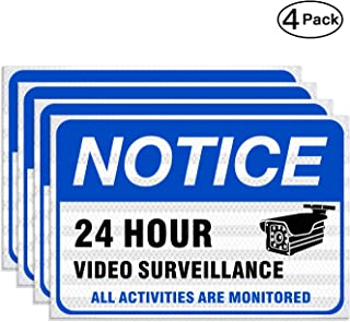 (4 Pack) Video Surveillance Sign Professional Reflective Stickers 10'' x 7'' Sleek Vinyl Decal Stickers UV Protected and Waterproof, Inspiration of LOOKTHED