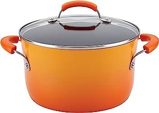 Rachael Ray 16084 Brights  Nonstick Stock Pot/Stockpot with Lid - 6 Quart, Orange
