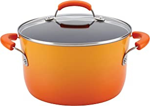 Rachael Ray Brights Nonstick Stock Pot/Stockpot with Lid - 6 Quart, Orange