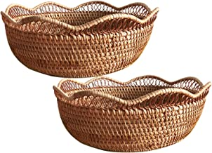 MAHFEI Round Woven Bread Roll Basket, Rattan Hand Woven Storage Box Fruit Snacks Container Pastoral Style Gift Basket Set ...