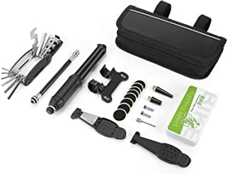 SIRIUS&CO Bike Tire Repair Kit with Pump,Bike Multitool,Tire Levers,Ball Needle,Frame Mount Mini Bike Pump Portable Presta & Schrader Compatible,Self Adhesive Patches,Bike Multitool