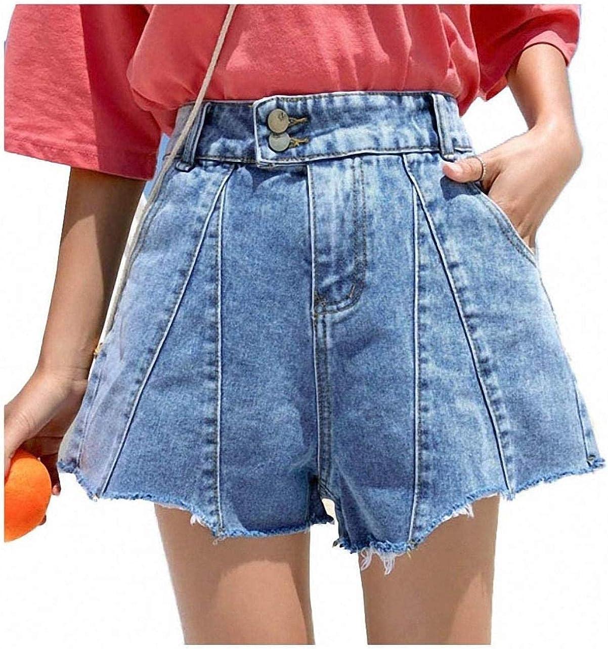 Tayaho Women Summer Plus Size High Waist Loose Denim Shorts Jeans