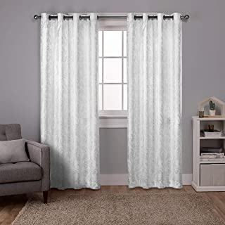Exclusive Home Curtains Watford Distressed Metallic Print Thermal Window Curtain Panel Pair with Grommet Top, 52x96, Winter White, Silver, 2 Piece