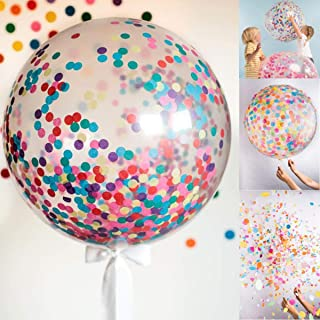 "Rozi Decoration 18"" inches Confetti Balloons with Confetti (Pack of 5) Birthday Anniversary Farewell Baby Shower Wedding Bouquet (BCB5)"