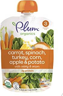 Plum Organics Stage 3, Organic Baby Food, Carrot, Spinach, Turkey, Corn, Apple and Potato, 4 Ounce pouches (Pack of 12) (P...