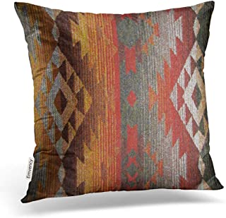 Emvency Square 16x16 Inches Decorative Pillowcase Aztec Navajo Orange Red Grey Tribal Linen Decor Throw Pillow Cover with Hidden Zipper for Bedroom Sofa