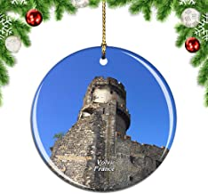 Weekino France Chateau de Tournoel Volvic Christmas Xmas Tree Ornament Decoration Hanging Pendant Decor City Travel Souvenir Collection Double Sided Porcelain 2.85 Inch