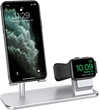 ATUMTEK 2 in 1 Cell Phone Stand, Stand Charging Dock Compatible with Apple Watch and AirPods, Adjustable Desktop Stand for iPhone, Apple Watch 4/3/2/1/ 44/42/40/38mm, iPad and More