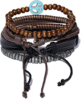 Unknown By Ayesha Men's Set Of Four Black, Brown, Grey Faux Leather Beaded Bracelets