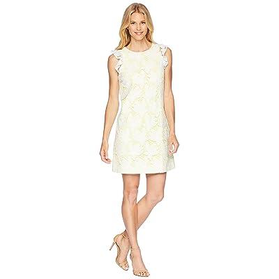 Tahari by ASL Ruffle Sleeve Novelty Sheath Dress (White/Lemon) Women