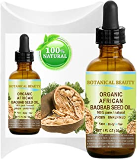 ORGANIC BAOBAB SEED Oil AFRICAN. 100% Pure / Natural / Undiluted/ VIRGIN / UNREFINED Cold Pressed Carrier Oil. For Skin, Hair, Lip and Nail Care. 1 Fl. oz. - 30 ml.