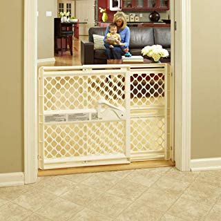 """North States 42"""" Wide Supergate Ergo Baby Gate: Includes sockets for Extra Holding Power. Hardware or Pressure Mount. Fits 26""""-42"""" Wide (26"""" Tall, Ivory)"""