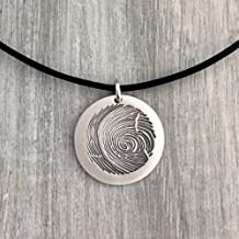 Actual Fingerprint Necklace in Sterling Silver Metal, Fingerprint Necklace, Leather Necklace, Man Necklace, Unisex Necklace