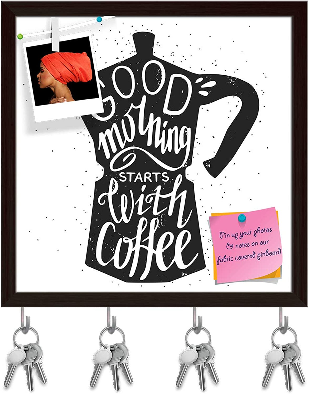 Artzfolio Good Morning Starts with Coffee Key Holder Hooks   Notice Pin Board   Dark Brown Frame 20 X 20Inch