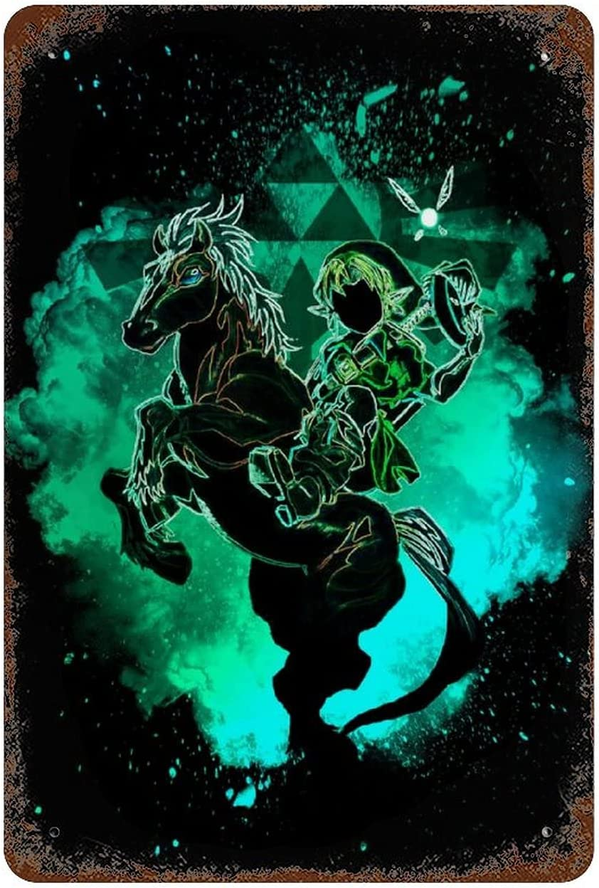 Keviewly The Legend of Zelda Link Green Soul of Epona Tin Sign Metal Sign Metal Decor Wall Sign Wall Poster Wall Decor Door Plaque 11.8x7.9in