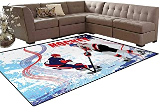 Hockey,Carpet,Two Ice Hockey Players in Cartoon Style on Grunge Abstract Skating Rink Backdrop,Non Slip Rug,Multicolor,6'x8'