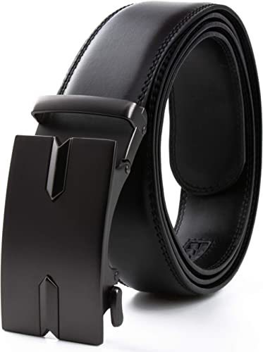 CONTACTS Men's Genuine Leather Auto Lock Buckle Belt (Free Size, Black)