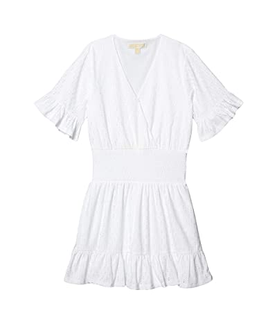 MICHAEL Michael Kors Eyelet Smocked Waist Dress (White) Women