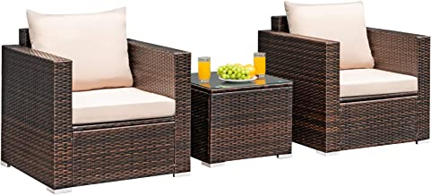 Tangkula 3 Pieces Patio Furniture Set, PE Rattan Wicker Sofa Set w/Washable Cushion and Tempered Glass Tabletop, Outdoor C...