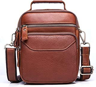 Leather Bag Mens Real Leather Upright Square Men's Bag Recreational Vintage Pure Color Small One-Shoulder Bag High Capacity (Color : Brown, Size : S)