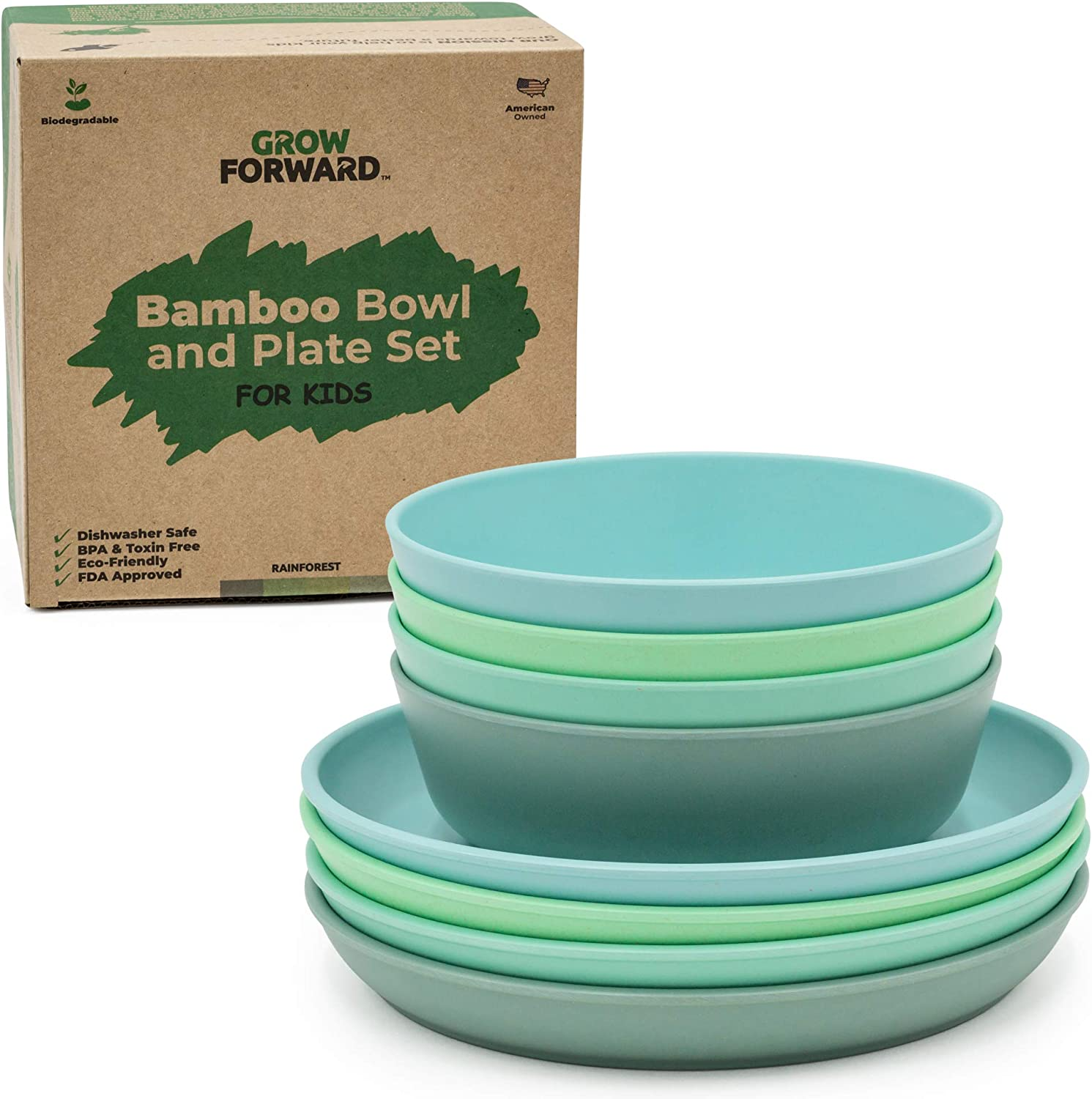 Grow Forward Kids NEW before selling ☆ Bamboo Bowl and - New Orleans Mall 4 Plate Set Plates