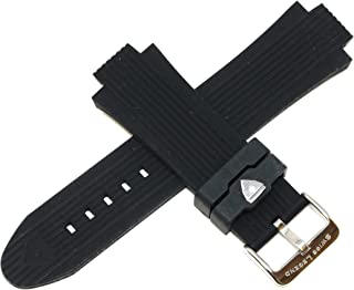 Swiss Legend 30MM Black Rubber Watch Strap & Stainless Silver Buckle fits 45MM Swiss Legend Traveler Watch