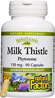 HerbalFactors by Natural Factors, Milk Thistle Phytosome, Promotes Healthy Liver Function with Dandelion and Turmeric, 90 ...