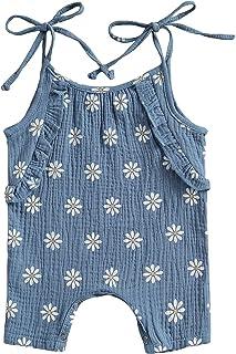 الوليد الطفل بنات ديزي طباعة رومبير بذلة أكمام داخلية للأطفال الرضع طفل الفتيات الملابس الصيفية (Color : Blue, Kid Size : ...
