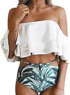 90bd10dc15 ATEENY Femme Tankini 2 Pèces Haut Blanc Volant Maillot de Bain Shorty  Taille Haute Imprimé à