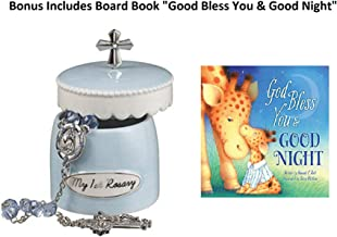 Baptism Religious Baby Gift Set for Boys - Grasslands Roads My First Rosary Elegant Ceramic Keepsake Box with Book Board God Bless You and Good Night (A God Bless Book from Hannah Hall)