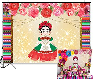 Funnytree 7X5FT Mexican Doll Girl Backdrop Colorful Stripes Dress-up Flowers Fiesta Background for Mexico Princess Birthday Party Banner Decoration Photo Booth Studio Props