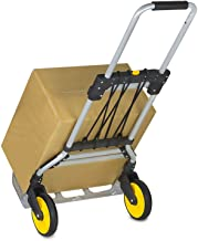 Mount-It! Folding Hand Truck and Dolly, 264 Lb Capacity Heavy-Duty Luggage Trolley Cart..