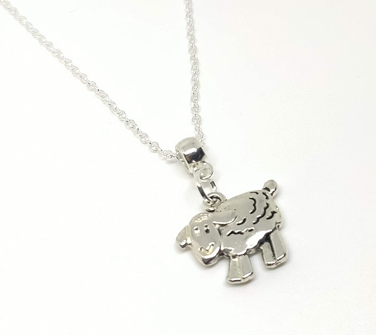 Sheep Pendant Link Chain Silver Plated Necklace