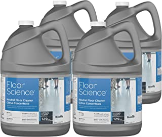 Diversey Floor Science Professional Neutral Floor Cleaner, 1 Gallon Concentrate - Makes Up to 129 Gallons, Citrus Scent (4 Pack)