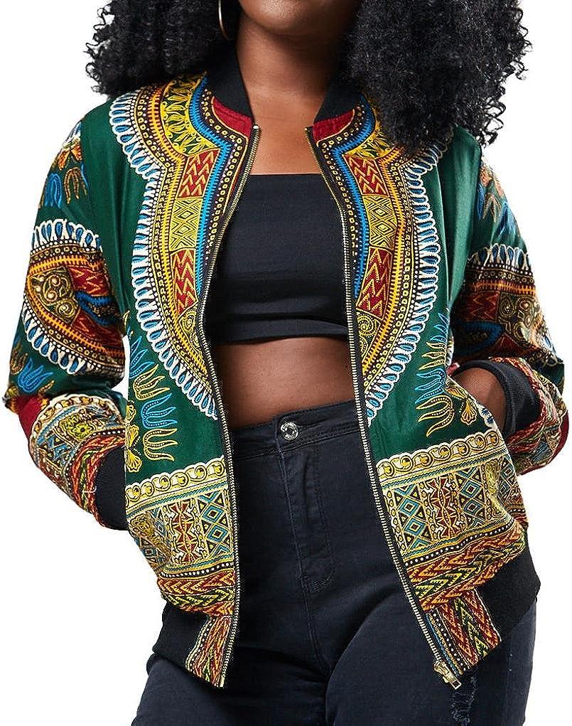 iQKA Women African Dashiki Long Sleeve Coat Biker Bomber Outwear Short Zip Up Jacket