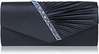 Womens Pleated Crystal-Studded Satin Handbag Evening Clutch