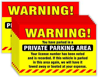 Private Parking Stickers (Pack of 50) Reserved No Permit Area Violation Warning Notice Vehicle is Illegally Parked - Large Size 6