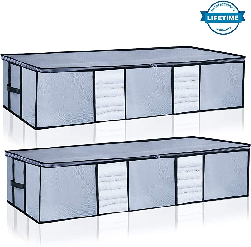 Underbed Storage Bags Organizer Container 2Pack With Strengthened Handles And Enhanced Zipper Large Space Saver Comforters Foldable Storage Bags Breathable With Clear Window For Blankets Clothes