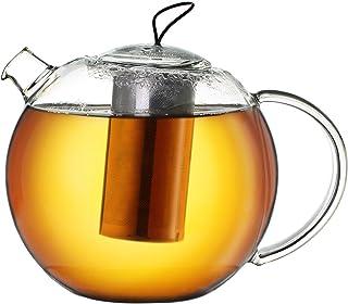 Creano Szklany dzbanek do herbaty Jumbo 1,5 l z filtrem ze stali nierdzewnej, wkładka silikonowa, wielofunkcyjny designers...