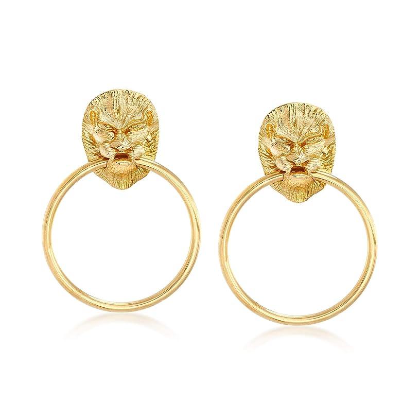 Ross-Simons Italian 18kt Yellow Gold Over Sterling Silver Lion Head Doorknocker Earrings
