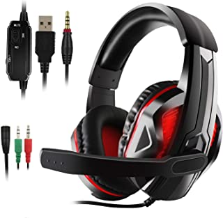 JAMSWALL LED Stereo Gaming Headset, 3.5mm Gaming Headse for PS4, PC, Xbox One Controller, Noise Cancelling Over Ear Headph...