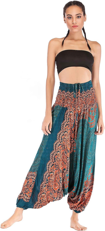 OMZIN Womens Harem Bohemain Baggy 2021 new Loos Award Beach Pants Colorful Yoga