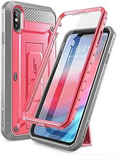 كفر ايفون اكس اس ماكس, iPhone XS Max , سبكيس , كفر متين وقوي , غطاء للشاشة , وردي ورمادي